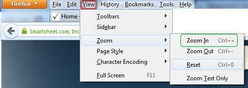 Zooming in Firefox